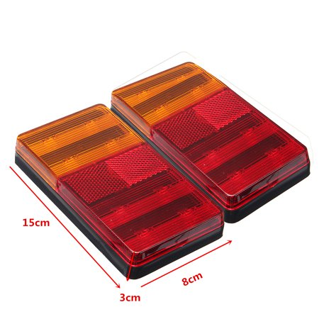 2PCS LED Universal Truck Turn Tail Rear Light Trailer Boat RV Brake Signal Lamp - image 6 de 8