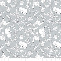 Disney Toy Story Character Outlines in Gray Fabric by The Yard