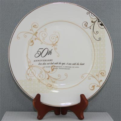 50th Wedding Anniversary Love Sees with the Heart Porcelain Plate with Stand