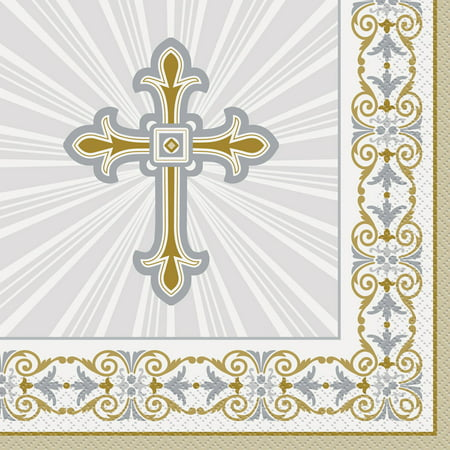 Radiant Cross Religious Paper Luncheon Napkins, 6.5 in, Gold & Silver, 16ct