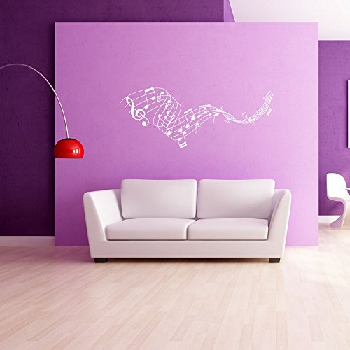 Music Staff Wall Decal - Musical Notes Wall Sticker, Treble Clef Vinyl Wall Art, Music Home Decor, Music Notes Wall Mural - 4215-0 - White, 24in x 9in
