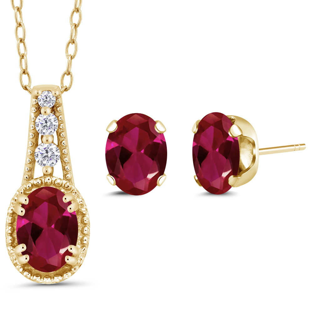 1.58 Ct Oval Red Created Ruby 14K Yellow Gold Pendant Earrings Set by