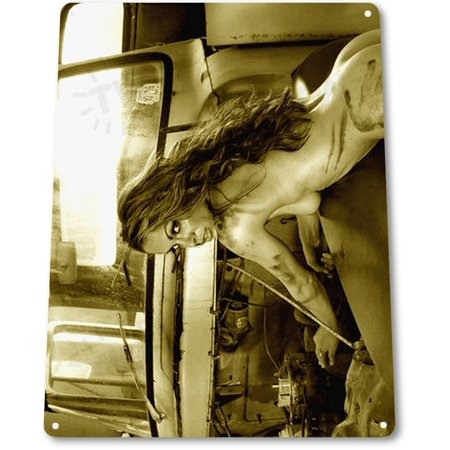 TIN SIGN B505 Hot and Humid Pin-up Girl Garage Grease Hot Rod Sign Decor, By - Girl Greaser