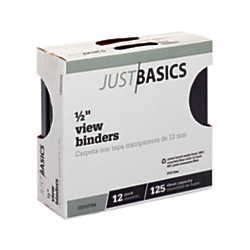 "Just Basics Round-Ring View Binder, 1 2"" Rings, 61% Recycled, Black, Pack Of 12 Binders by"