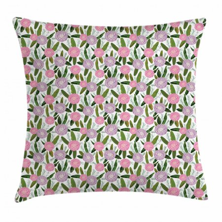 Camellia Throw Pillow Cushion Cover, Lilac Protea and Rosemary Branches Leaves Bouquet Wedding Romance Themed Print, Decorative Square Accent Pillow Case, 18 X 18 Inches, Multicolor, by Ambesonne - Halloween Themed Wedding Bouquets