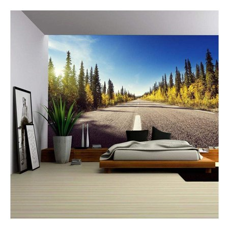 wall26 Road in Autumn Forest Sweden Removable Wall Mural Self adhesive