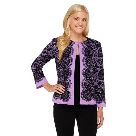 Bob Mackie Placement Print Lace Jacket A258895 Lace Print Jacket