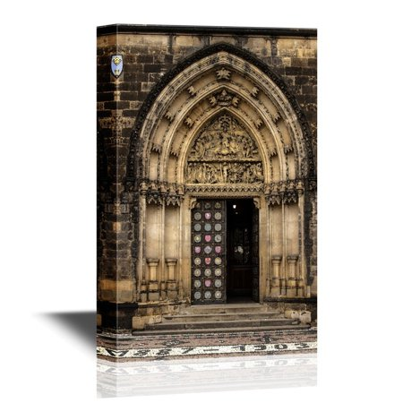 wall26 Doors Canvas Wall Art - The Entrance to the Gothic Vysehrad Cathedral in Prague - Gallery Wrap Modern Home Decor | Ready to Hang - 12x18 - Gothic Mansion Wall Decor