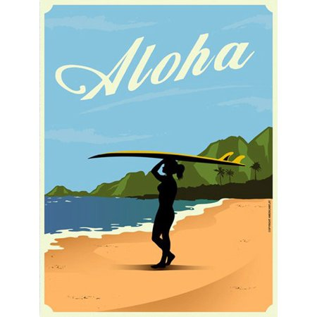 Vintage Art ALOHA Surfer girl STICKER (surf hawaii hawaiian visit)