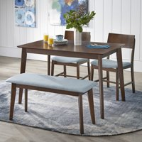 TMS Tiara 4-Piece Mid Century Dining Set with Bench, Multiple Colors