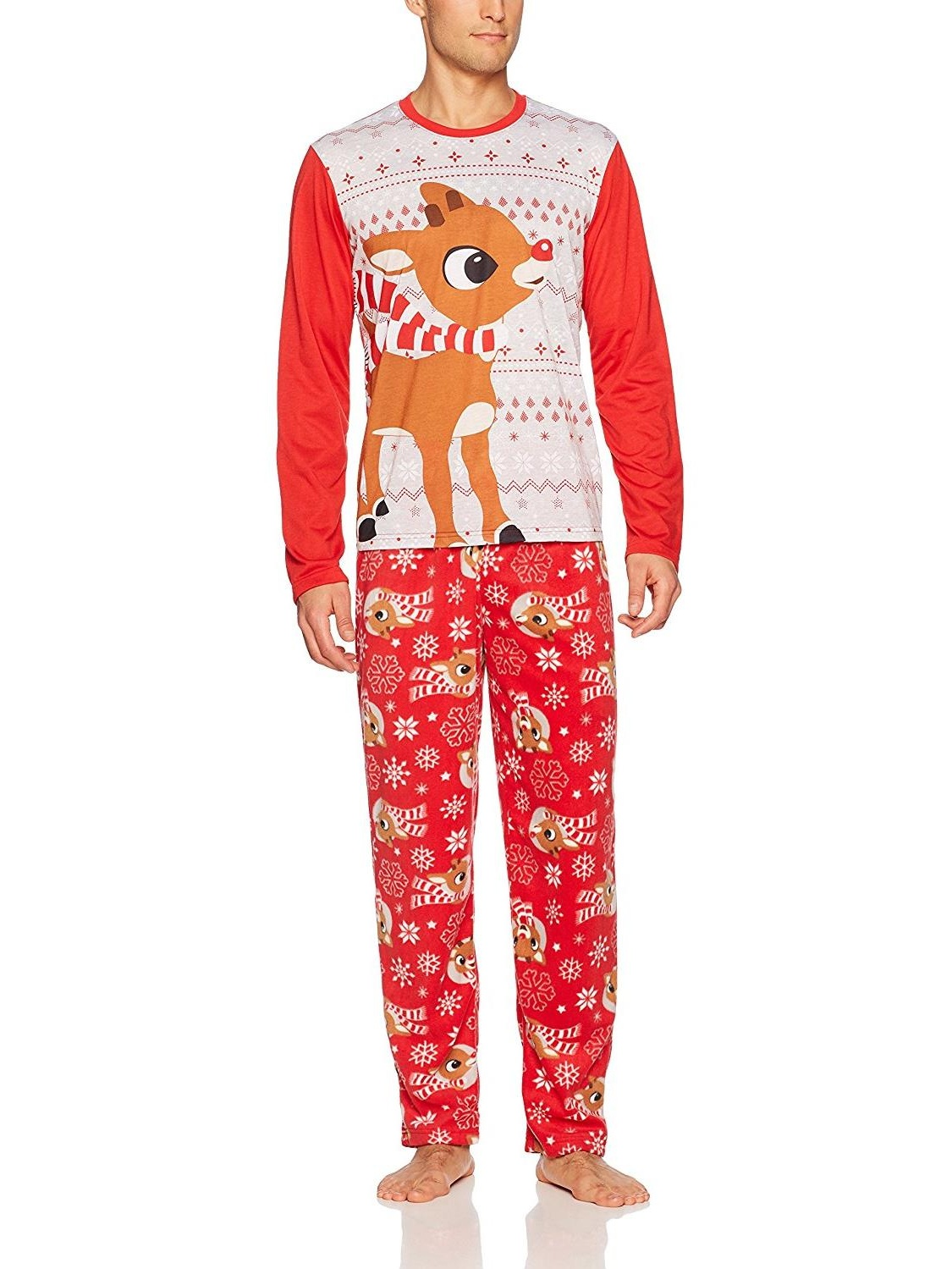 Rudolph s Red Nose Family Sleep 2-Piece Pajama Set Or Footie, Men Red, Size: Small