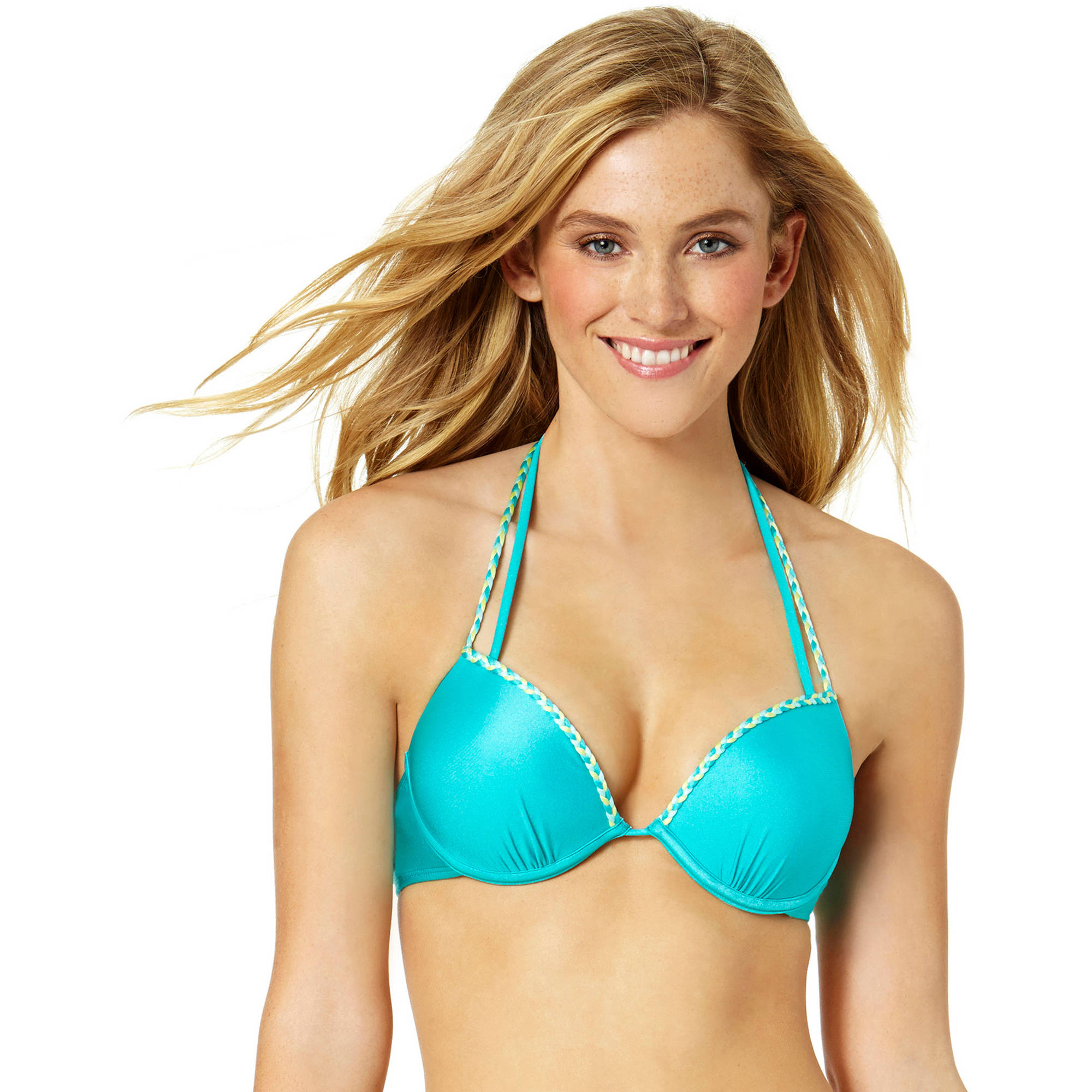 Tahiti Women's Braided Strap Underwire Push Up Halter Top