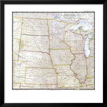 North Central Us Map.1948 North Central United States Map Framed Print Wall Art By