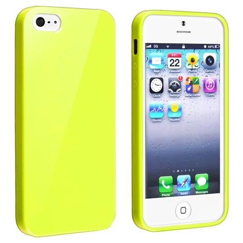 Insten TPU Rubber Case For Apple iPhone SE / 5 / 5s, Yellow Jelly