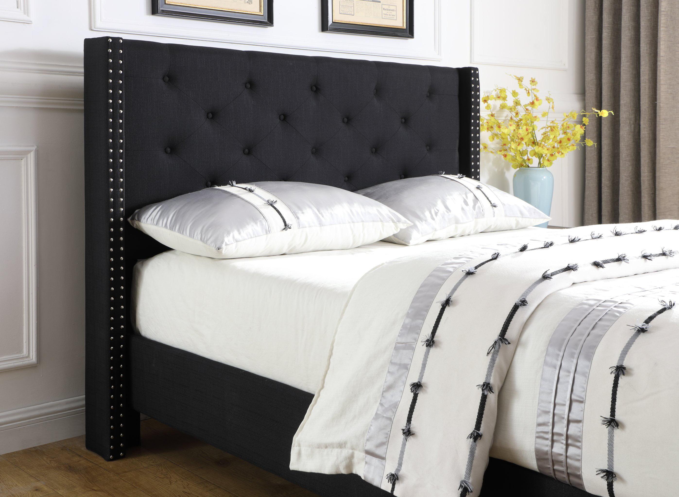 Homelife 51 Quot Black Linen Headboard Amp Platform Bed Walmart Com Walmart Com