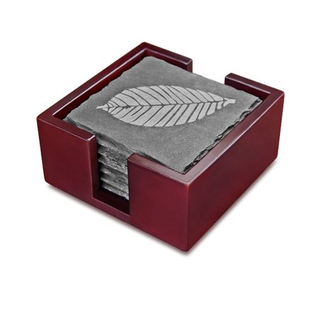 New Star Food Service Slate Etched Leaf Coaster with Solid Wood Holder (Set of (Etched Slate)