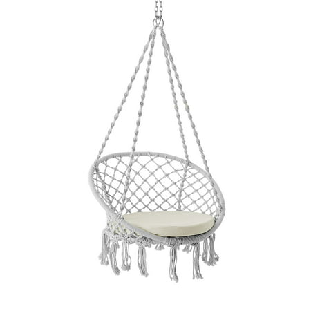 Better Homes & Gardens Harlow White Tassel Rope Hammock Swing Chair
