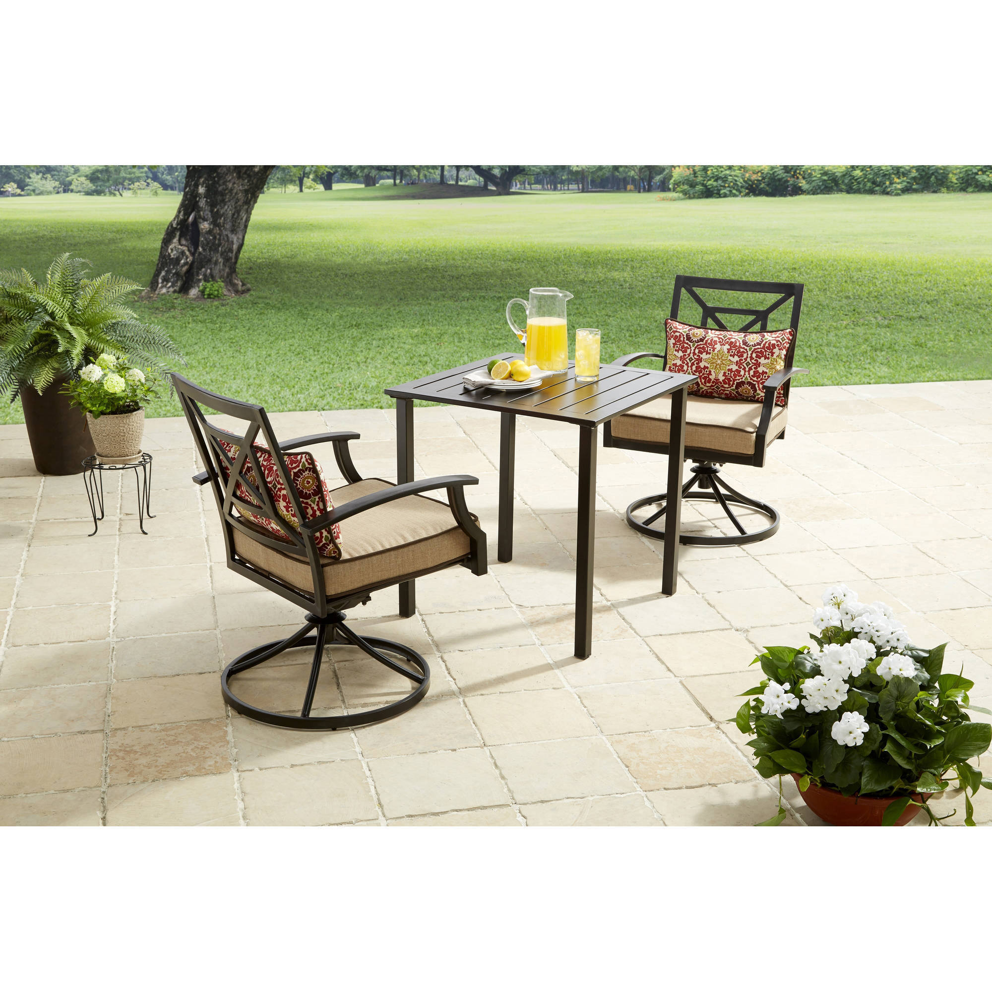 Better Homes and Gardens Carter Hills 3-Piece Outdoor Bistro Set, Seats 2 by