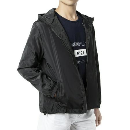 LELINTA Mens Full Zip up Sportswear Windbreaker Jacket Sport Casual Lightweight Hooded Outdoor Jacket Full Zip Windbreaker