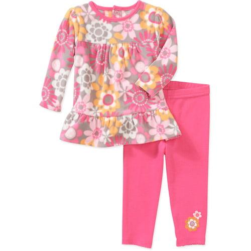 Child of Mine Carters Newborn Girls' 2-Piece Flower Print Fleece Top and Pant Set