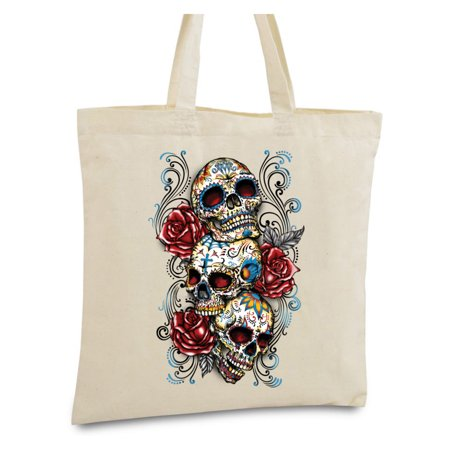 Awkward Styles Three Sugar Skull Tote Bag Bags Gifts For Day Of The Dead Accessories Gothic He Dia De Los Muertos