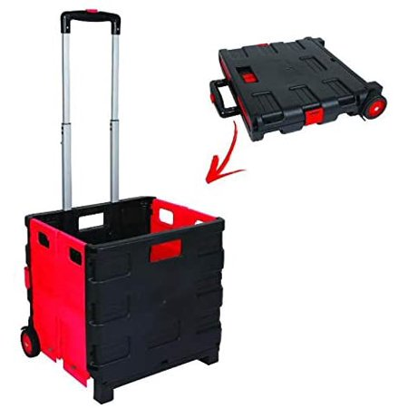 Image of Collapsible & Portable Durable Plastic Rolling Universal Folding Hand Truck Shopping Trolley Cart Telescoping Handle 55 LBS Capacity
