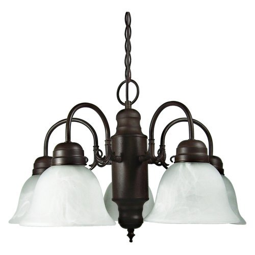 Yosemite Home Decor Manzanita 5-Light Chandelier with Shade - 24W in. - Dark Brown