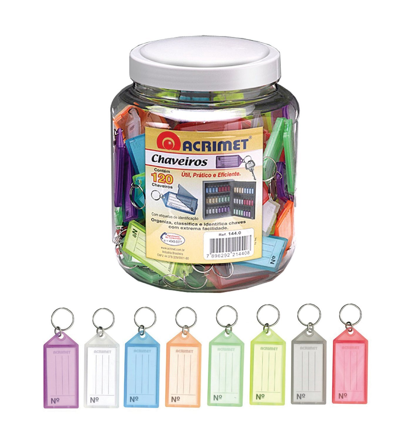 Acrimet Key Tag Jar w  120 Keyring Tags (Assorted Colors) by