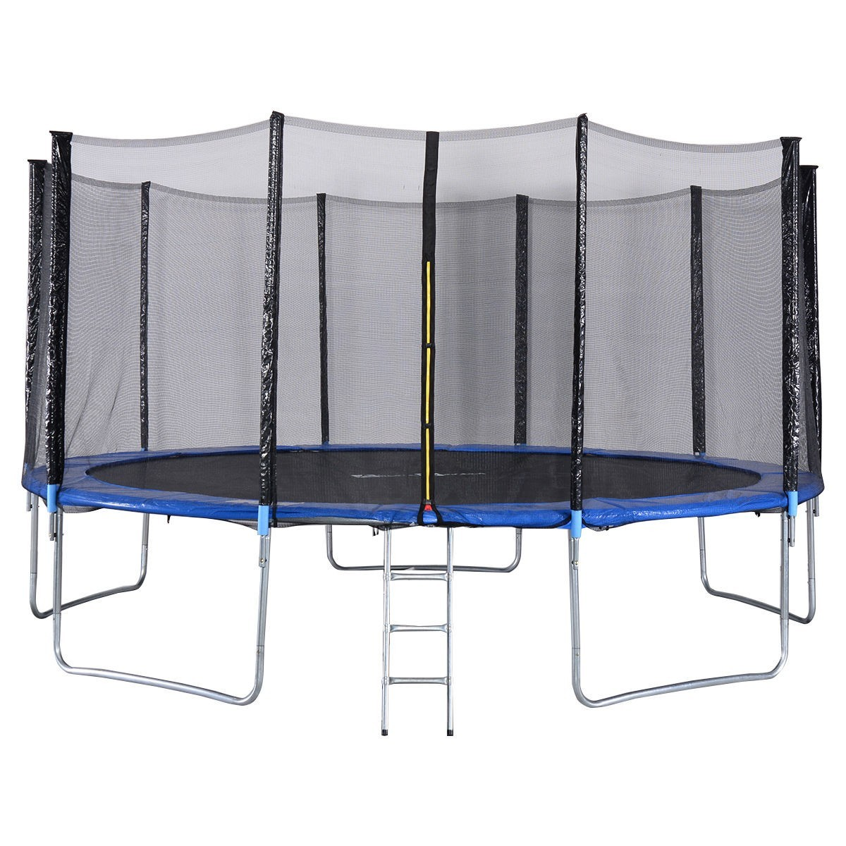 15 ft Trampoline Combo w/ Safety Enclosure Net, Spring Pad & Ladder