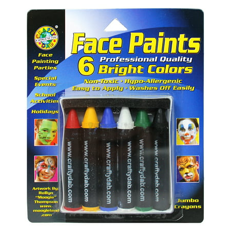 Face Paint Jumbo Crayons 6/Pkg-Bright - Halloween Eye Mask Face Paint