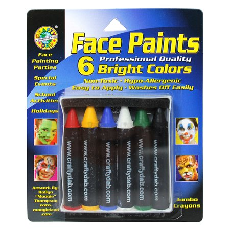 Face Paint Jumbo Crayons 6/Pkg-Bright - Simple Halloween Face Paint For Girls