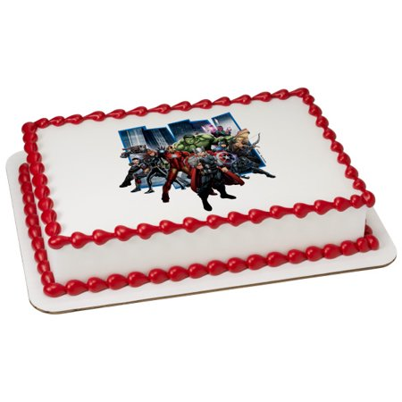 Marvel's Avengers Earth's Mightiest Hero 1/4 Sheet Image Cake Topper Edible Birthday Party - Avengers Birthday Cake Toppers