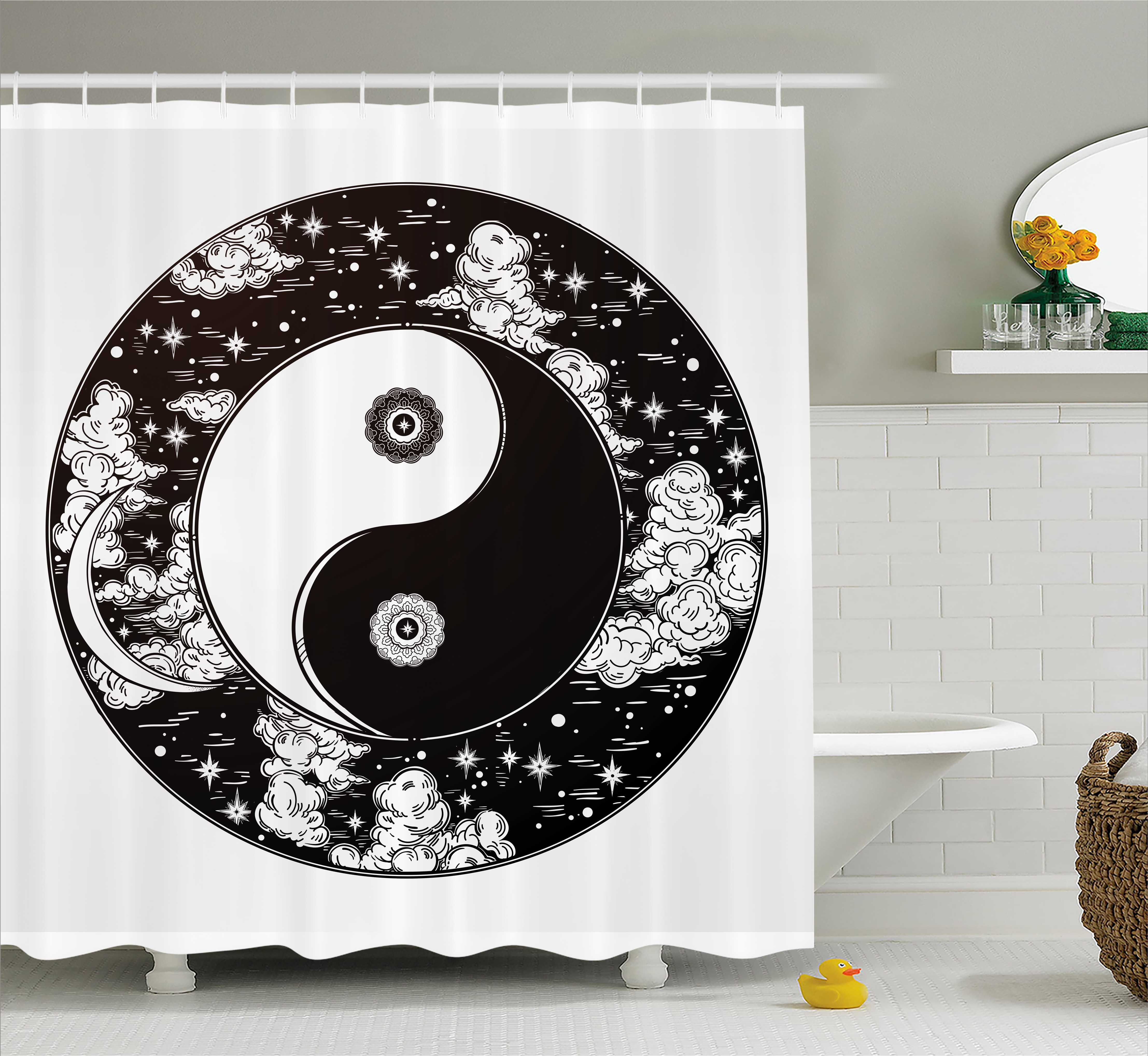 Ying Yang Decor Shower Curtain, Stars And Moon Asian Mystic Starry Night  Sky Peace Magic