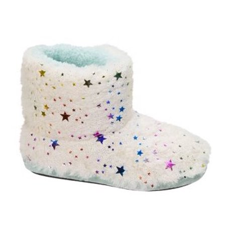 Dearfoams Girl's Star Pile Bootie Slippers (Glass Slippers For Girls)