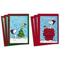 Hallmark Peanuts Christmas Cards Assortment, Snoopy and Woodstock (6 Cards with Envelopes, 2 Designs), 6.0 CT