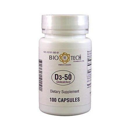 Bio-Tech  D3-50 50,000 Iu 100 Caps (Vitamin D Supplement 50000 Iu Side Effects)