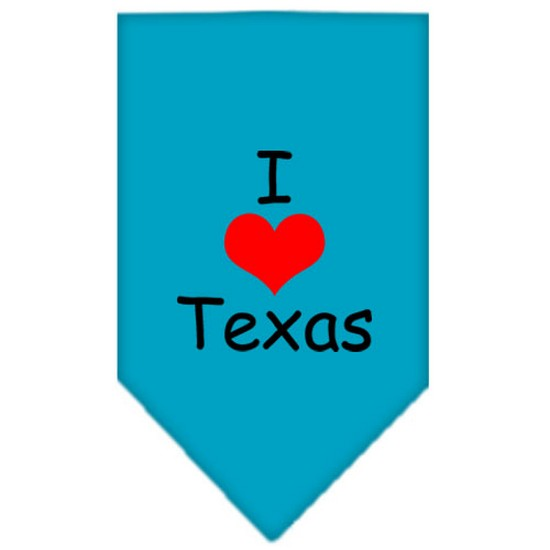 I Heart Texas  Screen Print Bandana Turquoise Small
