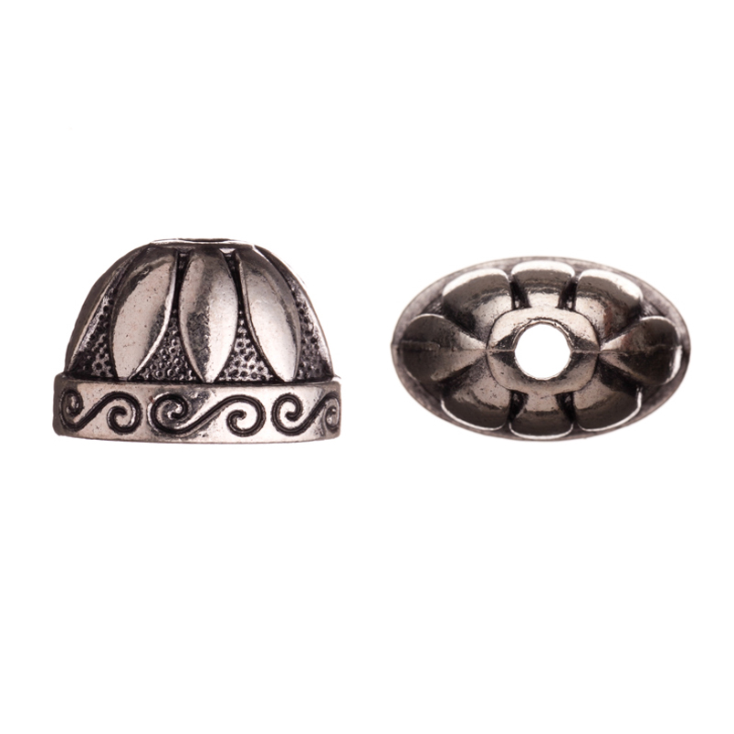 Oval Cone With Marquis And Paisley Lines Antique Silver-Plated Bead Cap/Cord End Fits 19-21mm Beads 19x14mm Sold per pkg of 8pcs per pack