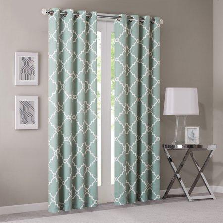 "63""x50"" Sereno Fretwork Print Light Filtering Curtain Panel Green"