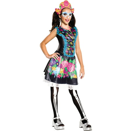 Skelita Calaveras Monster High Girls Day Of The Dead Skeleton Halloween Costume - Day Of The Dead Faces For Halloween