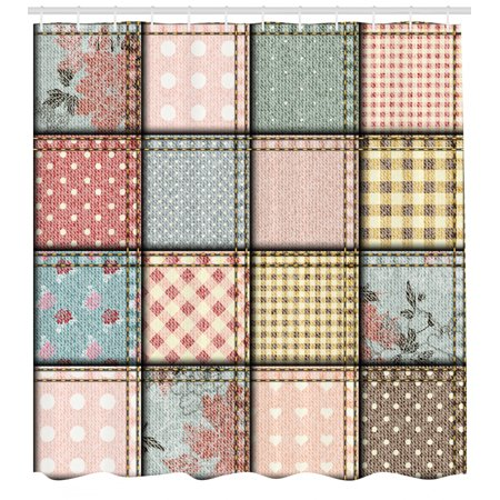 Shabby Chic Shower Curtain, Patchwork Denim Seem Fabric Pieces with Stitches Square Tile Digital Print, Fabric Bathroom Set with Hooks, Multicolor, by