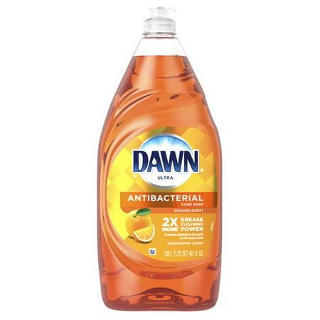 Dawn Ultra Antibacterial Hand Soap, Dishwashing Liquid Dish Soap, Orange Scent, 40 fl (Left Hand Drain Almond)