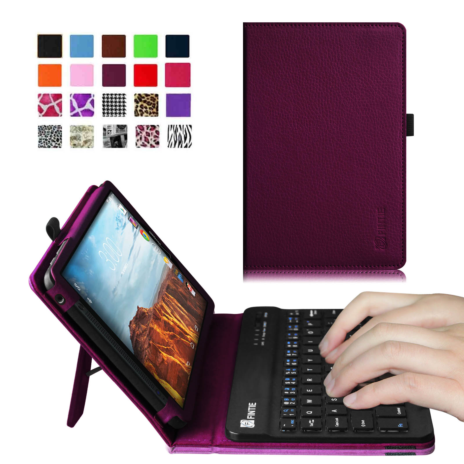 Verizon Ellipsis 8 4G LTE Tablet Keyboard Case - Fintie Slim Fit PU Leather Stand Cover with Removable Keyboard, Purple