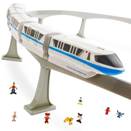 Monorail Train Track Playset (Blue) Walt Disney World Spaceship Earth Figure Light & Sound Toy Vehicle Collector Set [ Mickey-Minnie-Donald-Daisy-Pluto-Stitch-Lilo-Goofy ] Parks Limited Collectible