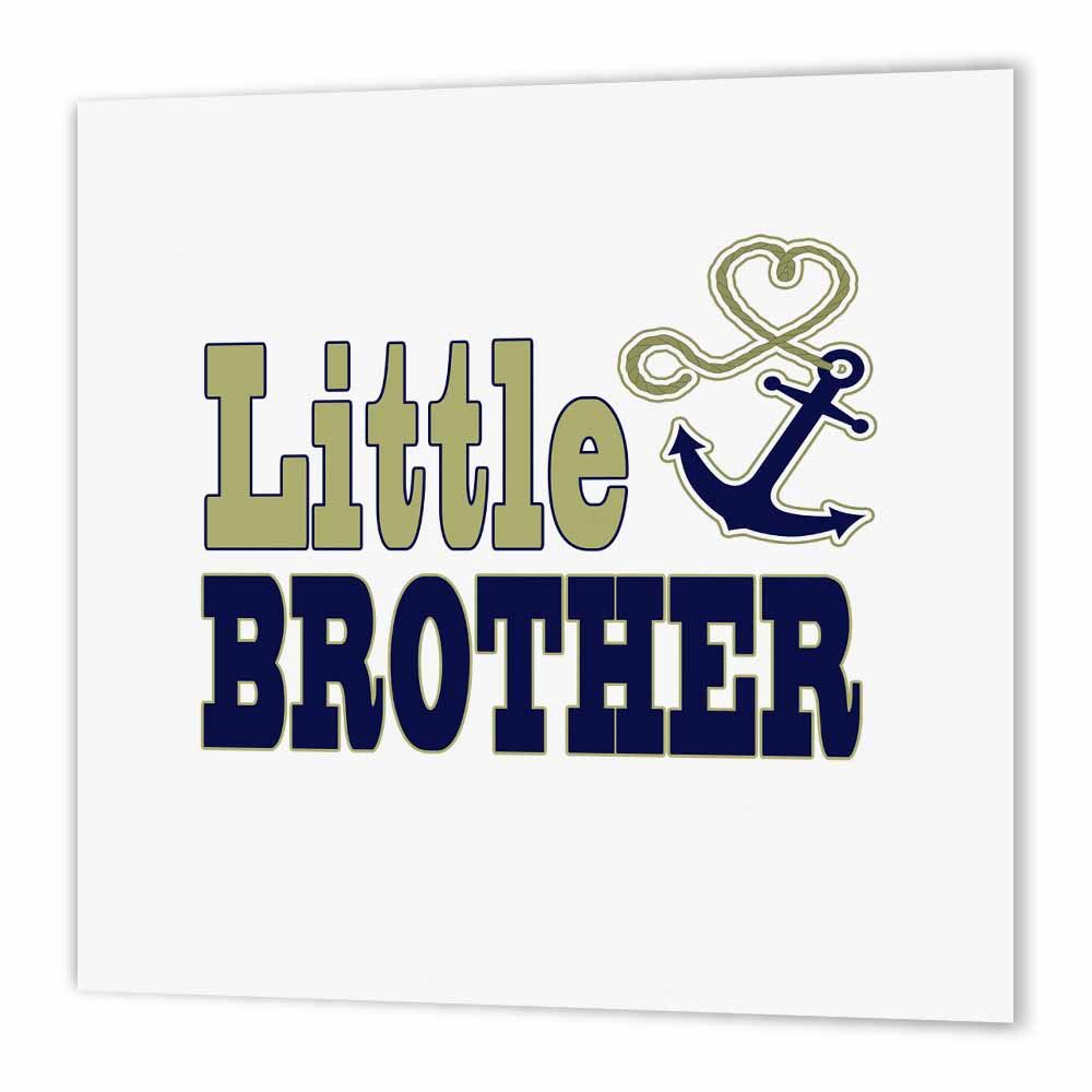 3dRose Little Brother Cute Anchor and Heart Rope Navy and Gold, Iron On Heat Transfer, 6 by 6-inch, For White Material