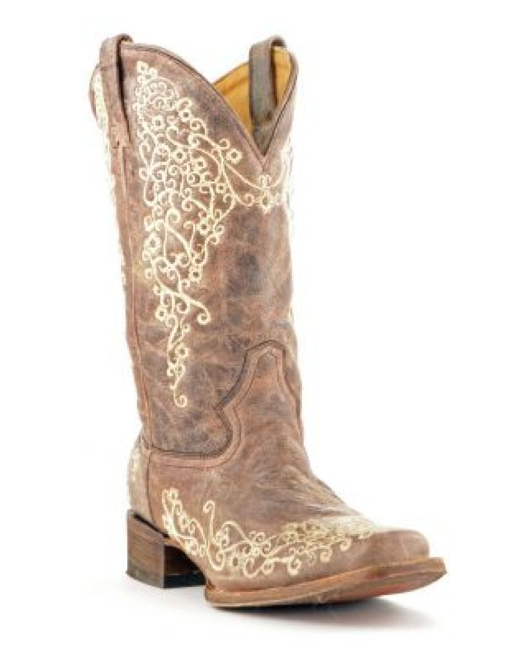 Corral Women's Brown Crater Bone Embroidery Square Toe Boots A2663