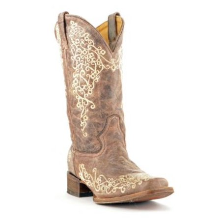 (Corral Women's Brown Crater Bone Embroidery Square Toe Boots A2663)