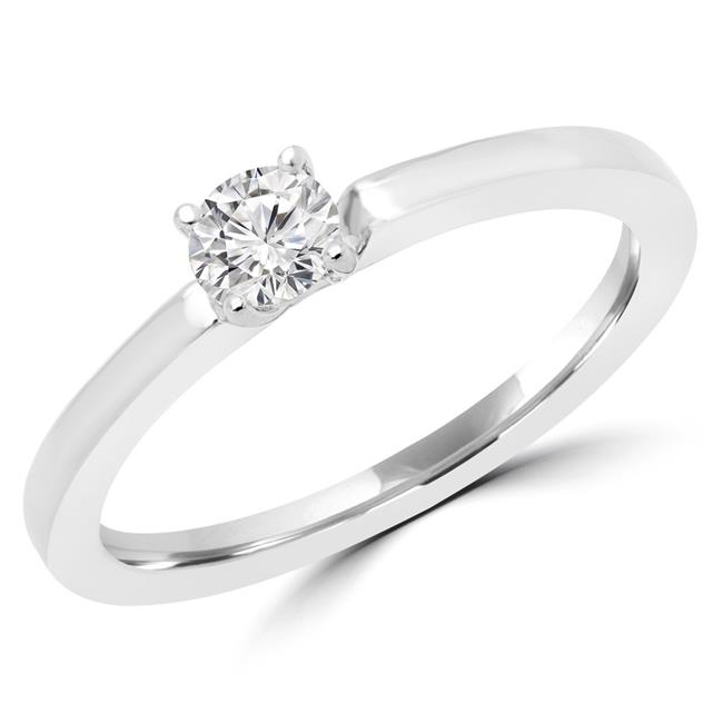 Majesty Diamonds MDR170049-5 0.25 CT Round Diamond Promise Solitaire Engagement Ring in 14K White Gold - 5 - image 1 de 1