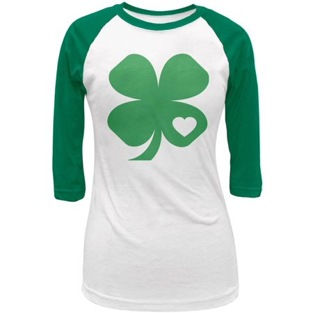 St. Patricks Day Shamrock Heart Green Juniors 3-4 Raglan T-Shirt - St Patricks Day Clothing