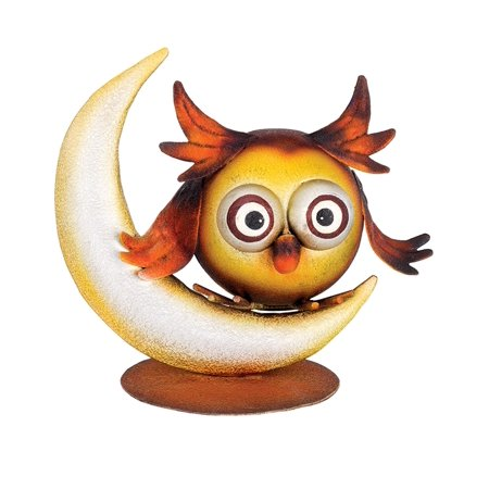 Hootie Night Owl By the Big Crescent Moon Metal Tabletop Figurine Décor Regal